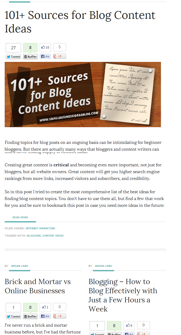 Social Sharing for 101 Content Ideas Post